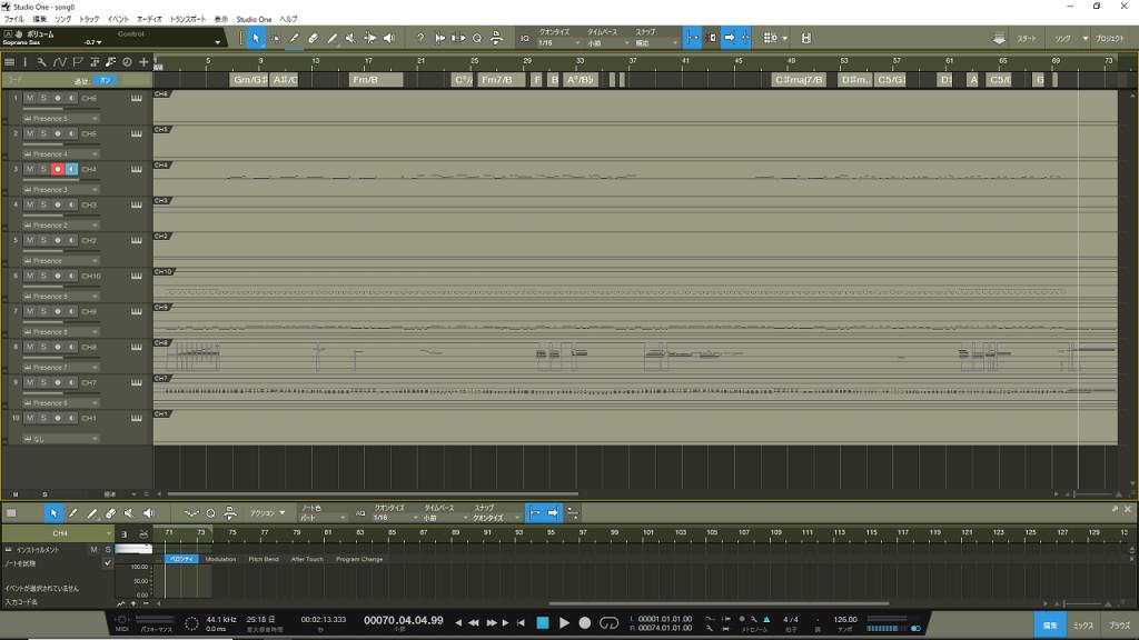 自動作曲をDAWに取り込んだ画面